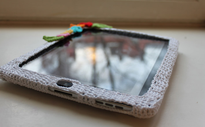 Crocheted Ipad cozy with flowers