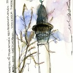 Sketch of the Minaret of the Stockholm Mosque. Water color and ink