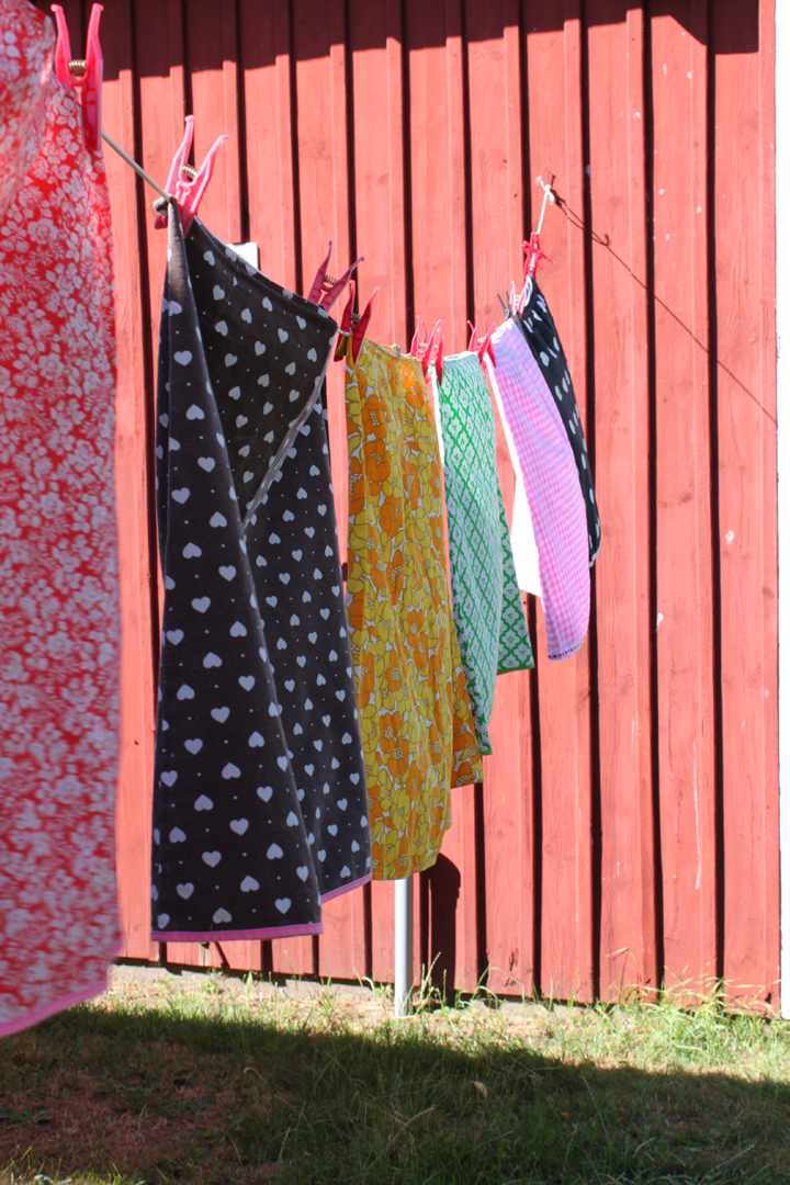 Colorful prints, skirts on a clothing line