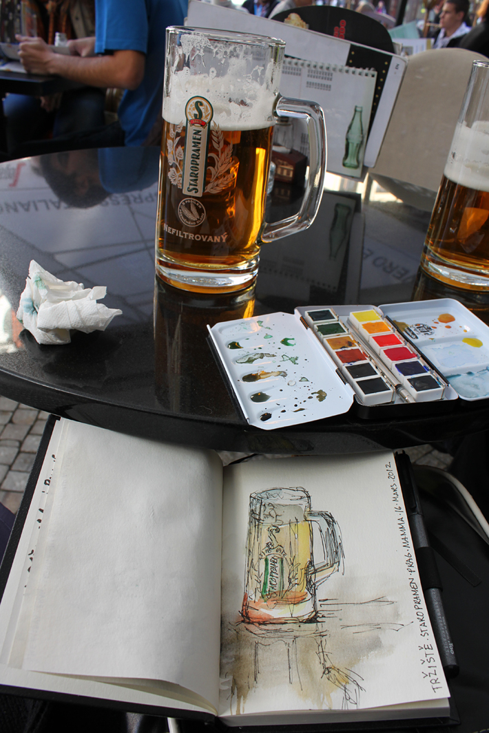 Crooked Staropramen water color and ink. Prague 2012
