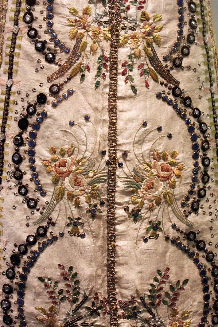 Embroidery on skirt. Detail. Art Deco Museum Prague