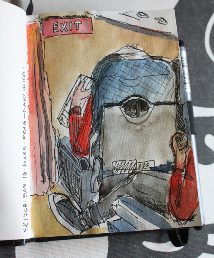 Sketch on the flight. Water color and ink Prague 2012