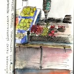 Sketch of the fruit and vegetable market. Water color and ink
