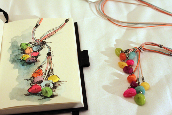 Necklace. Sketch water color and ink Prague 2012
