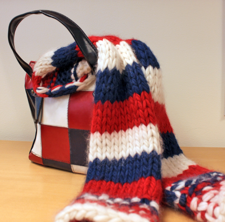 knitted scarf to match the bag