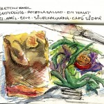 Sketch of my lunch. Salmon pudding and sallad. Water color and ink