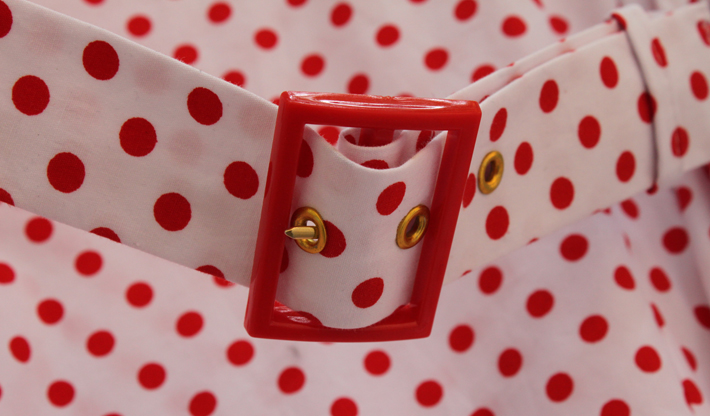 red dotted dress belt