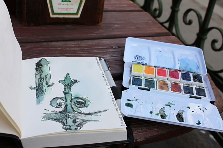 Sketch, Water color and ink. Green iron fence. Prague 2012