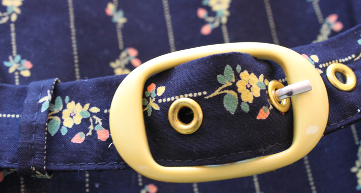 Black and yellow floral dress belt